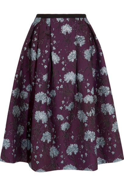d5b8a6a6c9 Erdem Imari Metallic Floral-Jacquard Midi Skirt - Wheretoget