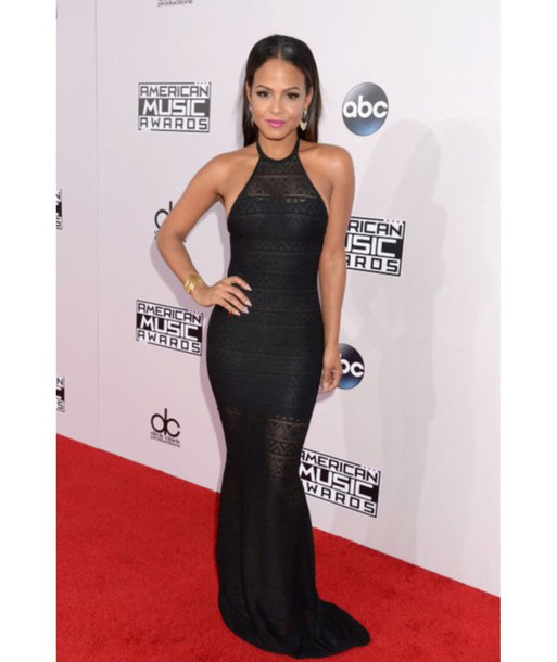 black dress christina milian long dress