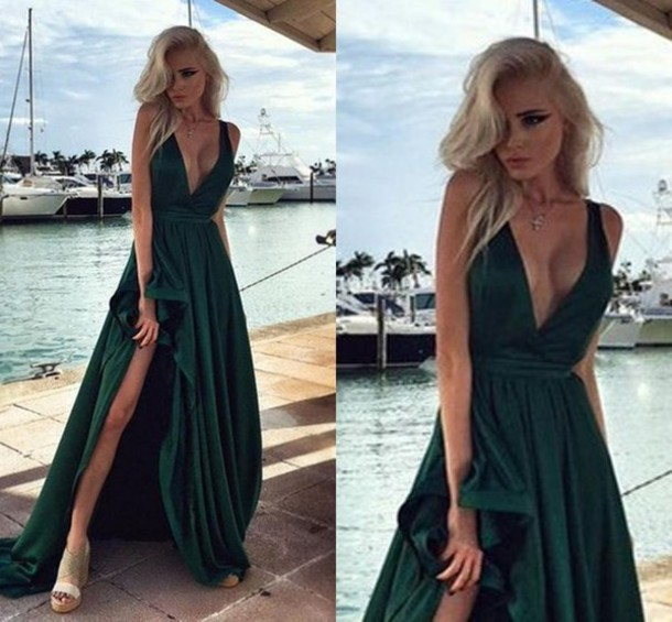 dress, satin, prom dress, emerald green, v neck, thigh slit, black ...