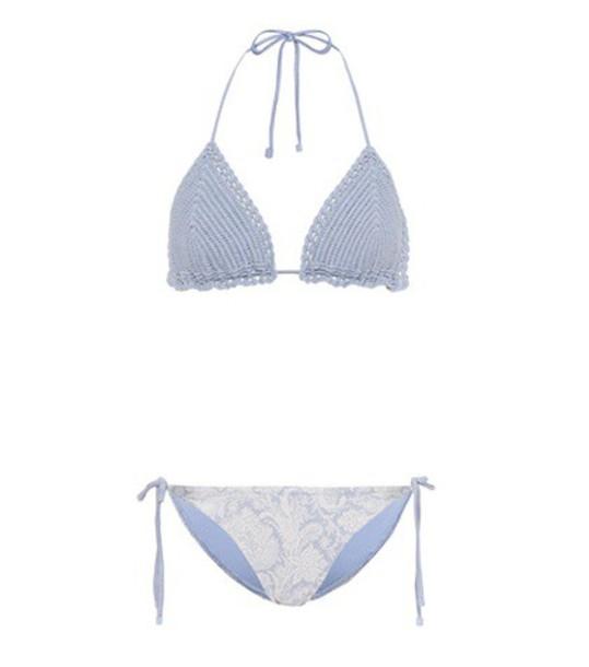 Zimmermann bikini crochet bikini crochet blue swimwear