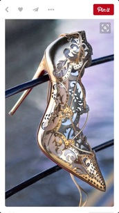 shoes,louboutin,high heel pumps,high heels,gold shoes,gold