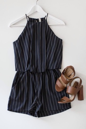 romper stripes black romper black black and white stripes jumpsuit black playsuit