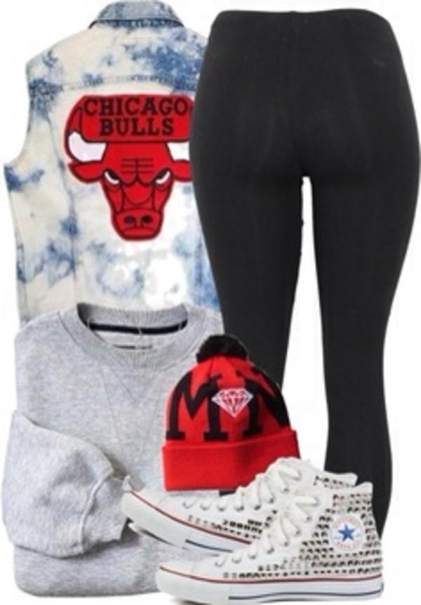 jacket chicago bulls leggings high top converse snapback grey jumper shoes