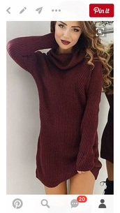 dress,red,wine,turtleneck sweater,burgundy sweater,sweater,girl,girly,girly wishlist,burgundy,sweater dress,fall sweater,knit,knitwear,knitted sweater,fall outfits,pretty,cute,turtleneck dress,turtleneck,burgundy dress,wine colored dress,wine red,red dress