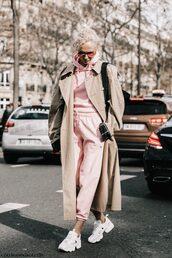 pants,tumblr,pink pants,sweatpants,tracksuit,hoodie,pink hoodie,sneakers,white sneakers,coat,camel,camel coat,trench coat,camel long coat,long coat,sunglasses,spring outfits,oversized coat,streetstyle,Paris Fashion Week 2017,fashion week,fashion week 2017