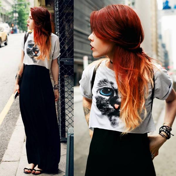 t-shirt le happy luanna perez cats long skirt shoes skirt