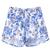 White Elastic Waist Blue Floral Shorts - Sheinside.com