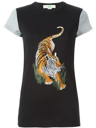 t-shirt shirt tiger tiger print print black top