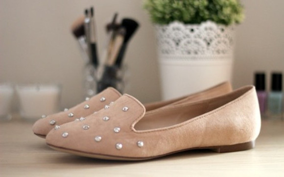 shoes pink loafers beige studs