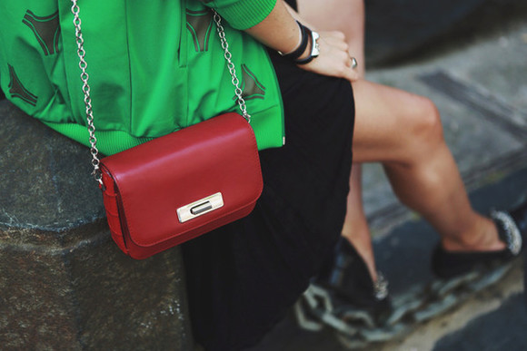 style scrapbook bag leather bag blogger red bag red clutch