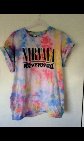 nirvana band t-shirt nirvana t-shirt tshirt logo rainbow nevermind