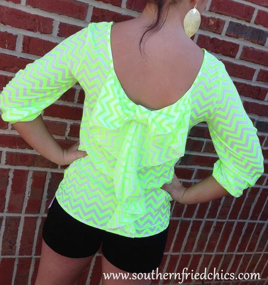 neon blouse chevron