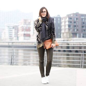 pants grey leather pants tumblr leather pants grey pants bag brown bag pouch tassel top sequins sequin blouse sneakers white sneakers scarf glasses