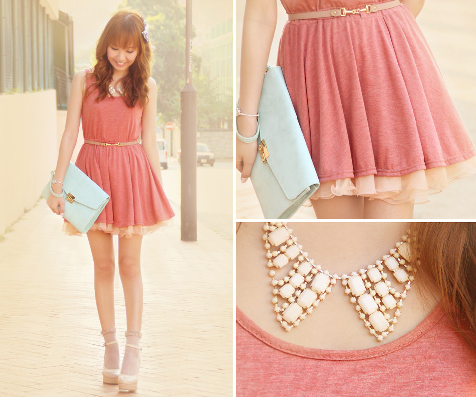 Dotthy Wong - Ingni Shoes, Bbw Tank Dress, Bbw Pastel Skirt, Accessorize Clutch Bag, One Spo Necklace - Apple Pie ♥ | LOOKBOOK