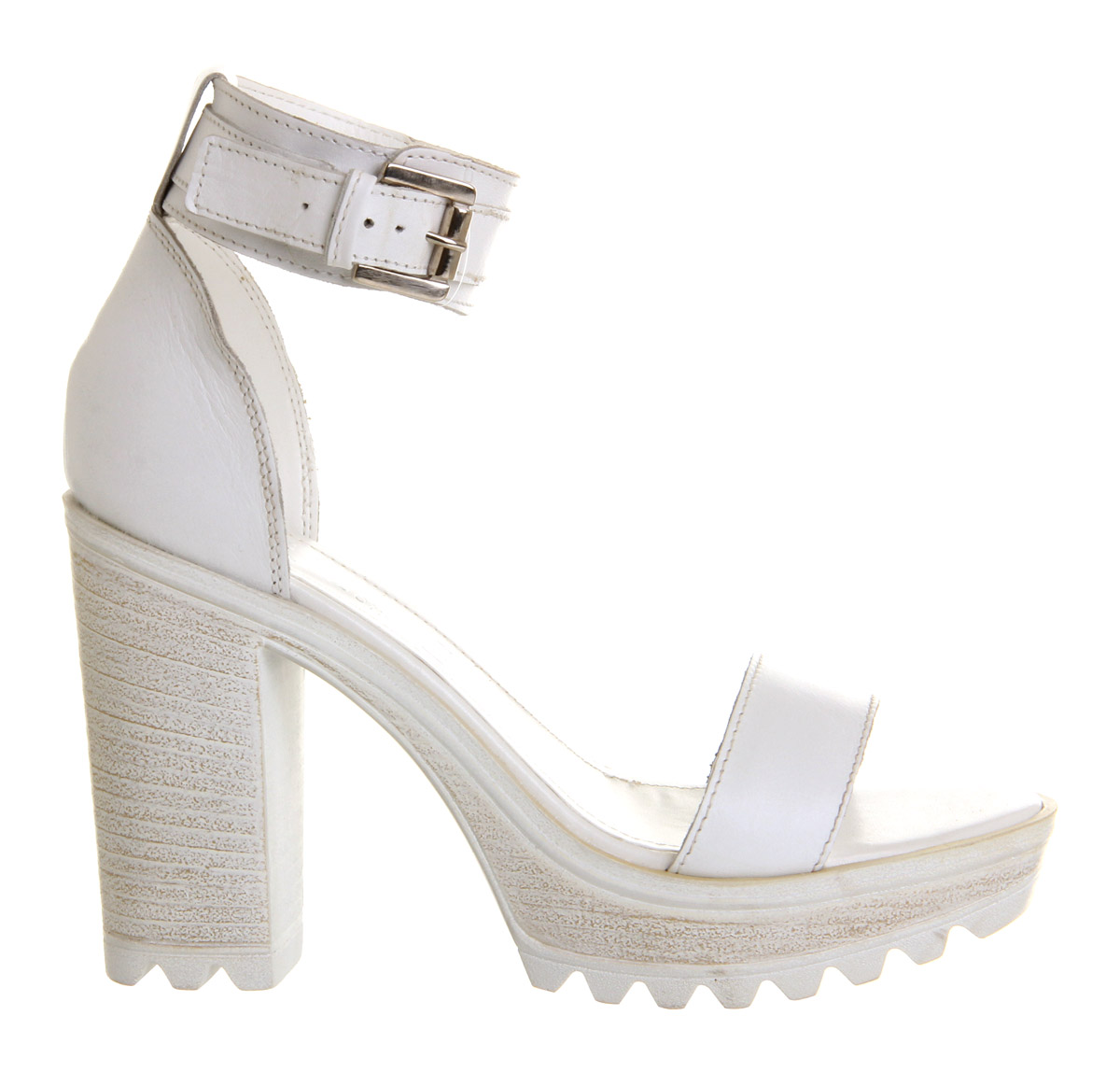 Office Jagged Cleated Sandal White Leather - High Heels