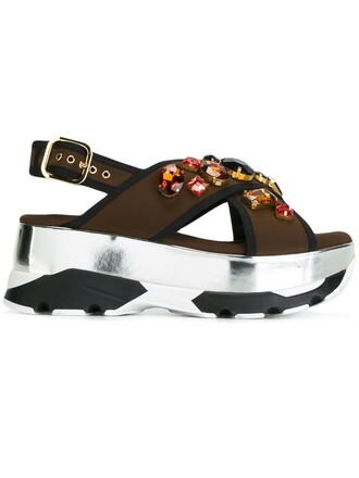 embellished sandals platform sandals brown shoes