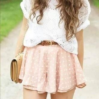 shirt pink skirt polka dots bag shorts belt blouse skirt pink all cute outfits white short