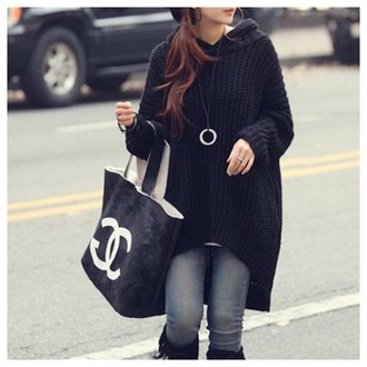 doublelw black hoodie sweater knitwear fall outfits fashion cute girly style winter sweater top t-shirt clothes