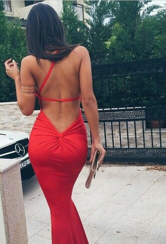 dress red dress low back dress prom prom queen prom dress long dress brunette hair fashion classy jewelry bracelets clutch back cropped cutted sexy official ball