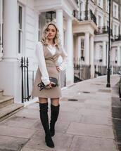 dress,checkered,v neck dress,mini dress,white blouse,shoulder bag,thigh high boots