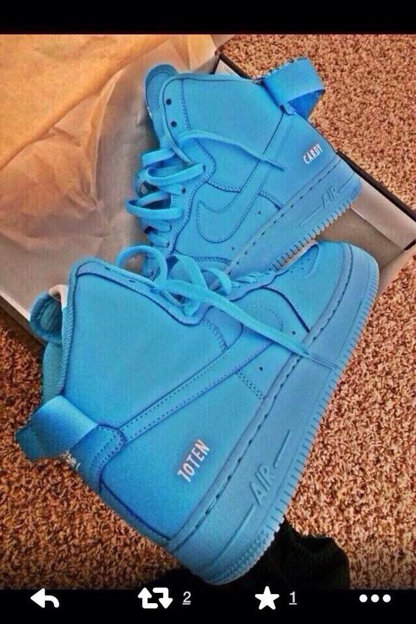 shoes nike air force 1 nike sneakers nike air force 1 blue air foces air forces high top nike air force 1 nike air force