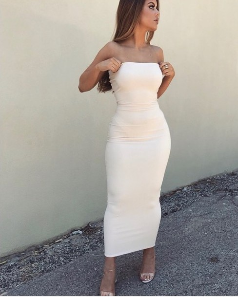 Tube White Cocktail Dresses