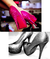high heels,glitter,pink shoes,silver shoes,shoes