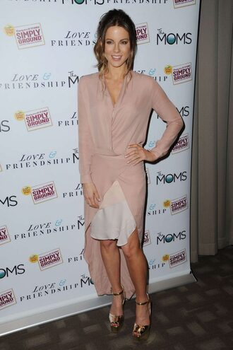 skirt shirt kate beckinsale sandals nude blouse dress high-low dresses