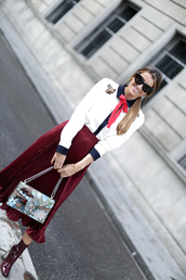 b a r t a b a c,blogger,shirt,skirt,shoes,bag,red skirt,pleated skirt,midi skirt,printed bag,burgundy,burgundy shoes,embroidered satin shirt,embroidered shirt,patent boots