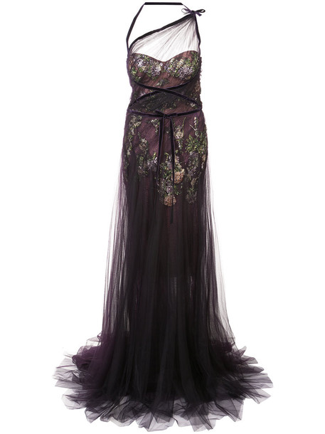 Marchesa dress mesh dress embroidered mesh women spandex silk purple pink