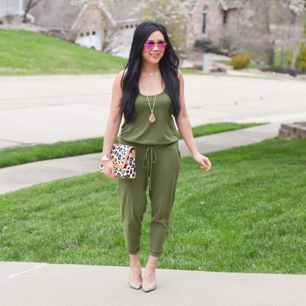 morepiecesofme bag blogger jumpsuit sunglasses shoes jewels