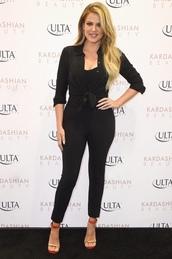 jumpsuit,shirt,black,khloe kardashian,sandals,spring outfits