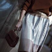 skirt,tumblr,metallic pleated skirt,pleated skirt,pleated,midi skirt,silver,metallic,bag,brown bag,bracelets,ring,jewels,jewelry,accessories,Accessory,gold jewelry