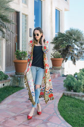 coat,kimono,black top,top,jeans,denim,ripped jeans,shoes,red shoes,red flats,sunglasses,rayban