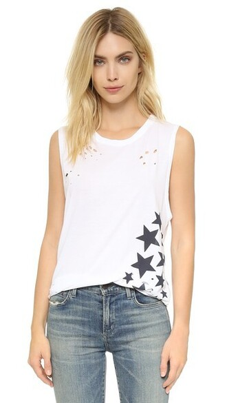 muscle tee white stars top