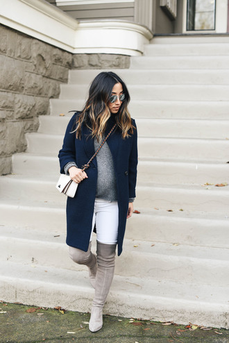 crystalin marie blogger sweater coat jeans shoes bag sunglasses boots over the knee boots navy coat winter outfits crossbody bag