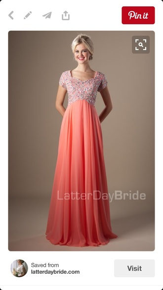 dress coral prom dress with sleeves modest dresses prom dreses coral dress