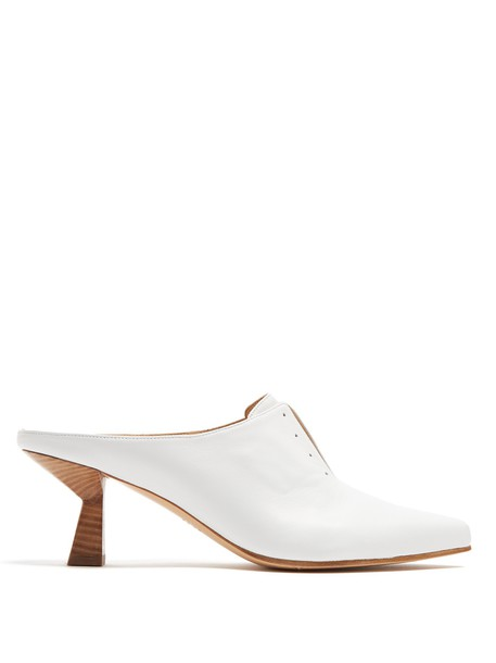 Gabriela Hearst heel mules leather white shoes