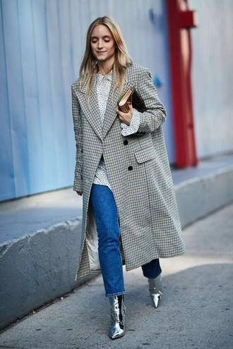 shoes metallic silver boots coat grey coat blouse bag jeans denim blue jeans streetstyle
