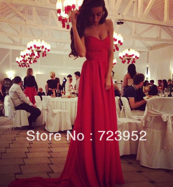Online Store A line Sweetheart Pleated Chiffon Long Train Charming Red Bridal Dress weddings & events Evening Party Dress-in Evening Dresses from Apparel & Accessories on Aliexpress.com