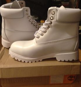 Timberland 6 inch Premium Boots White Womans Size 8 US New | eBay