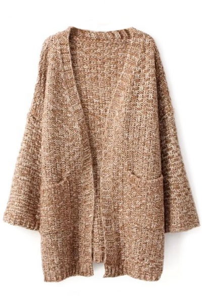 Thermal solid open front splits side knit cardigan