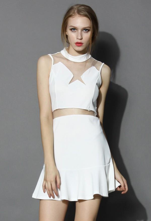 chicwish star mesh insert dress white flare dress