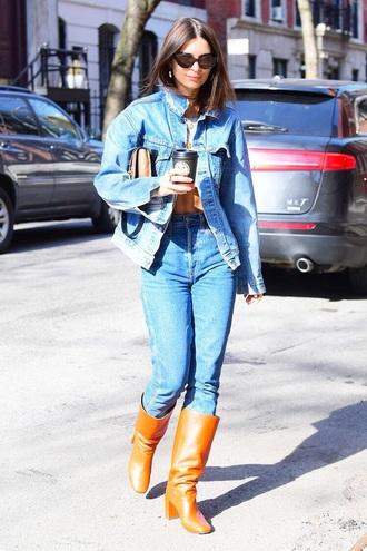 shoes boots brown boots sunglasses emily ratajkowski celebrity style denim jeans blue jeans all denim outfit