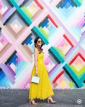 dress,tumblr,lace dress,maxi dress,yellow,yellow dress,summer dress,sleeveless,sleeveless dress,bag,blue bag,sandals,sandal heels,high heel sandals,sunglasses,shoes