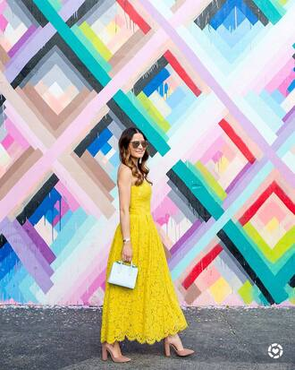 dress tumblr lace dress maxi dress yellow yellow dress summer dress sleeveless sleeveless dress bag blue bag sandals sandal heels high heel sandals sunglasses shoes