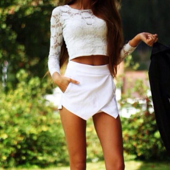 long sleeves lace top skirt