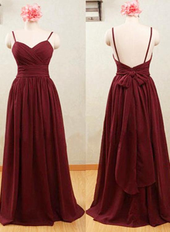 Simple Wine Red Chiffon Bridesmaid Dress with Bow, Floor Length Prom Dress, Wine Red Formal Dress