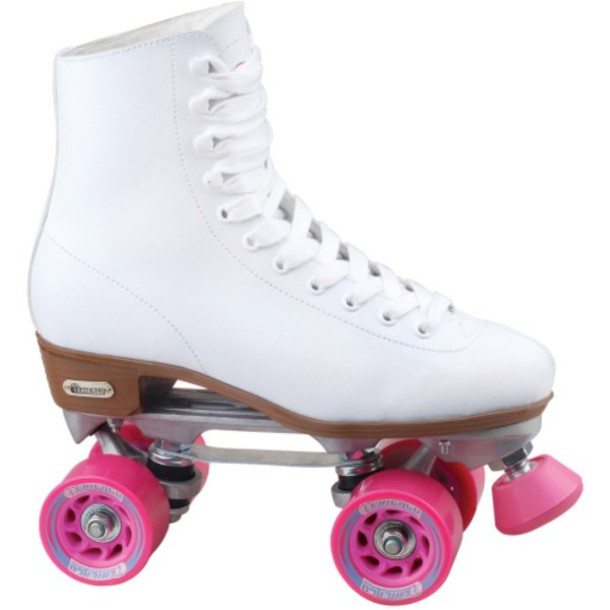 shoes white skates roller skates white pink wheel