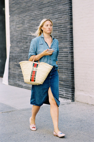 vanessa jackman blogger bag shirt skirt denim skirt slit skirt midi skirt monogrammed basket bag denim shirt blue skirt blue shirt flats embroidered shoes denim slit skirt
